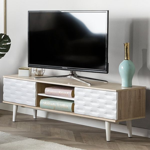 Wansea TV Stand with Shelving and Drawers - White & Light Wood
