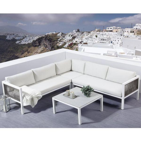 Borell Aluminium Garden Corner Sofa Set - White
