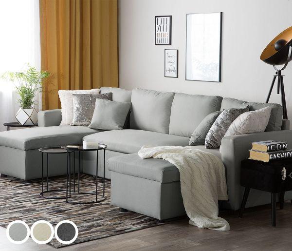 Sonin Fabric Corner Sofa Bed with Storage - Grey or Beige