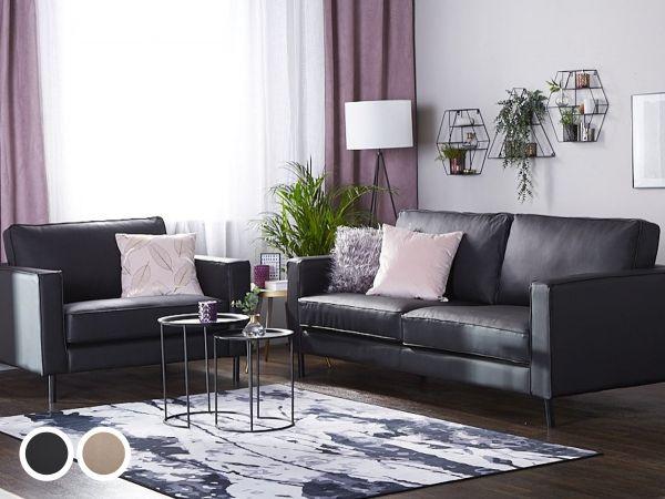 Savilin Leather Living Room Set - Black or Beige