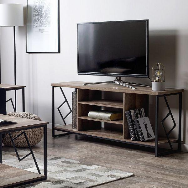 Torres TV Stand Industrial  - Dark Wood & Black
