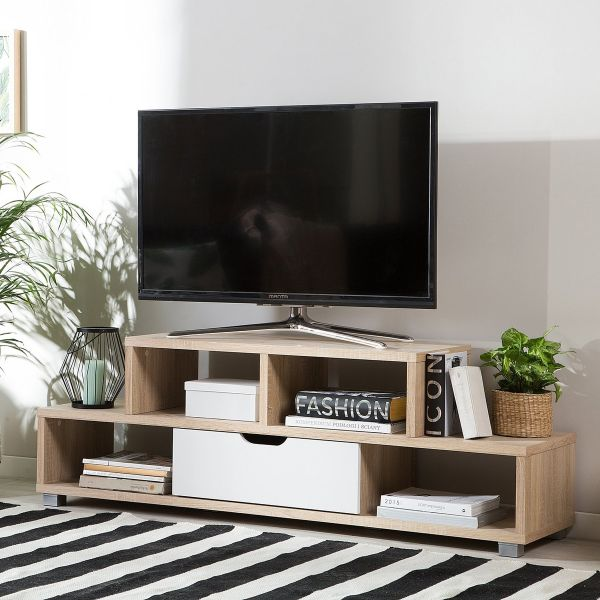 Campan TV Stand with Shelving & Drawer - Light Wood & White