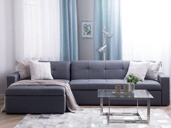 Laula Fabric Corner Sofa Bed - Grey