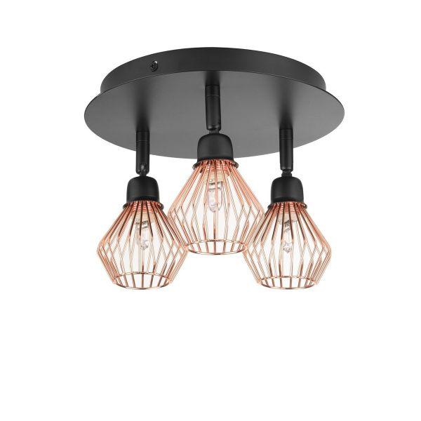 Olga 3 Light Metal Ceiling Lamp - Copper