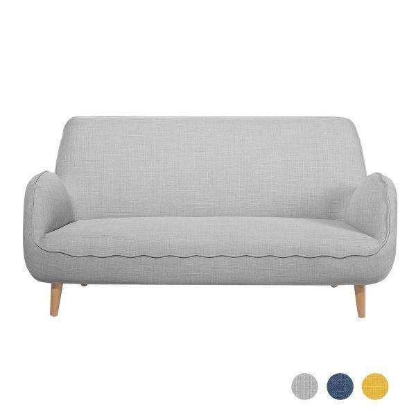 Koki Fabric Sofa with 3 Seater - Grey, Blue or Yellow
