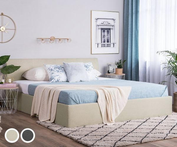 Orb Fabric Bed with Storage - Beige & Grey