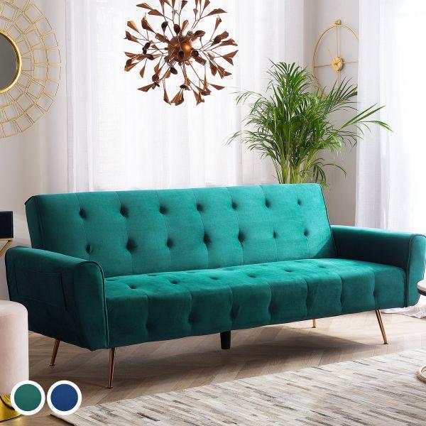 Senis Velvet Sofa Bed with 3 Seater - Blue or Green