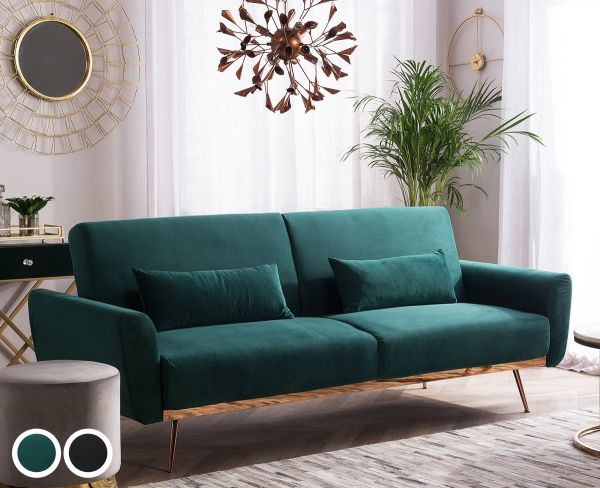 Ena Velvet Sofa Bed with 3 Seater - Green or Black