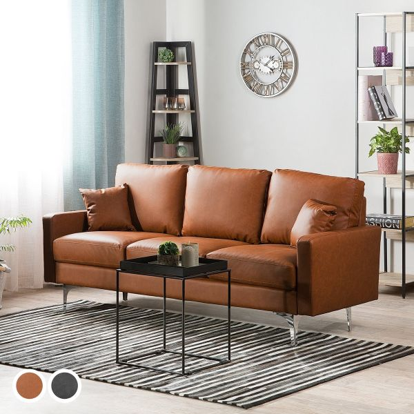 Gale Faux Leather Sofa with 3 Seater - Golden Brown or Dark Grey