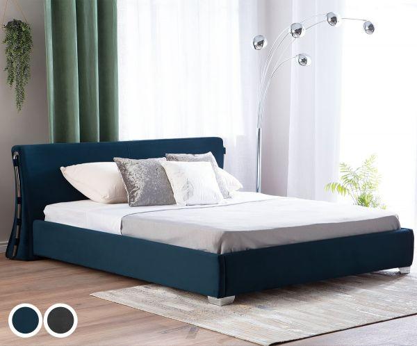 Pari Fabric Velvet Bed - 2 Colours & Sizes