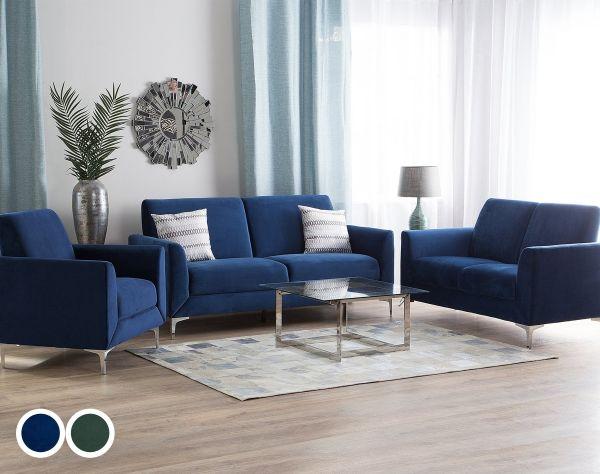 Fenis Velvet Living Room Set - Blue or Green