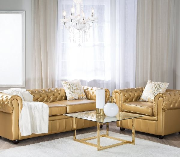 Chesterfield Faux Leather Living Room Set - Gold