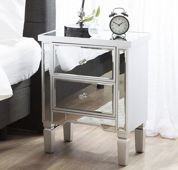 Tig Bedside Table with Drawers  -  Mirrored