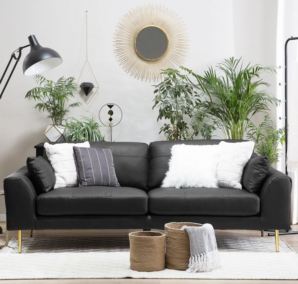 Tergat Leather Sofa with 3 Seater - Black