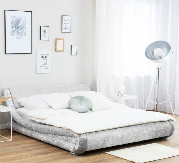 Avinon Fabric Velvet Bed - Silver