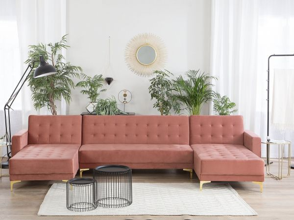 Abbie Velvet Modular U-Shaped Sofa with 5 Seater - Pink