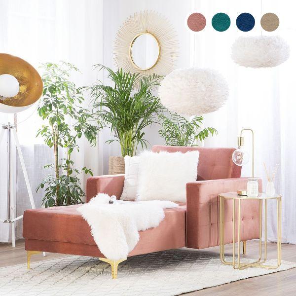 Abbie Velvet Chaise Longue - 4 Colours