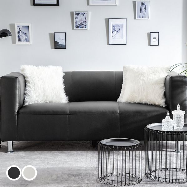 Flora Faux Leather Sofa with 3 Seater - Black or White