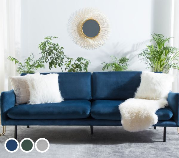 Ventibri Velvet Sofa with 3 Seater - Grey, Blue or Green