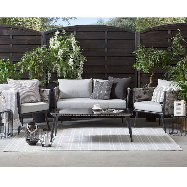 Vereza 4PC Black Metal Garden Lounge Set - Grey