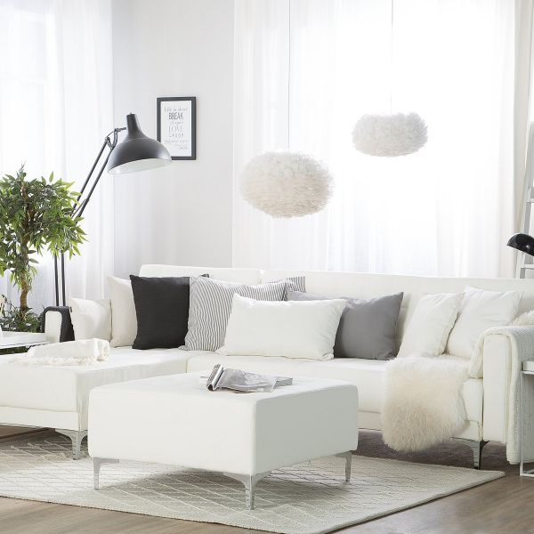 Abbie Faux Leather Corner Sofa with Ottoman - White