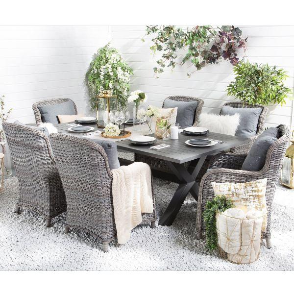 Casca 6-Seat Rattan Garden Dining Set - Grey