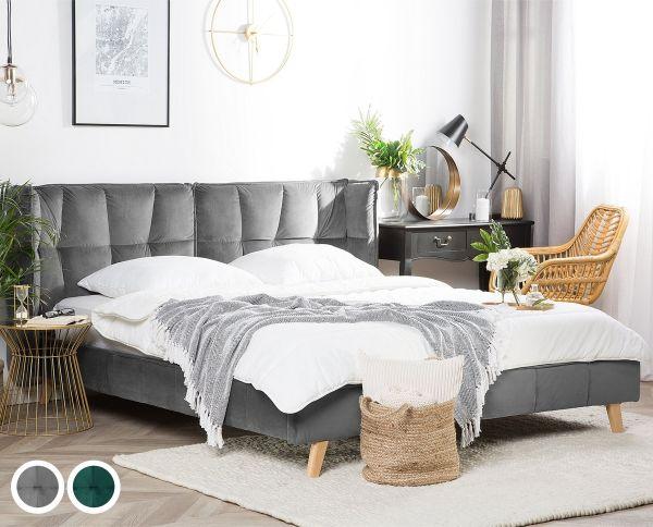 Lisen Fabric Velvet Bed - Dark Green & Grey