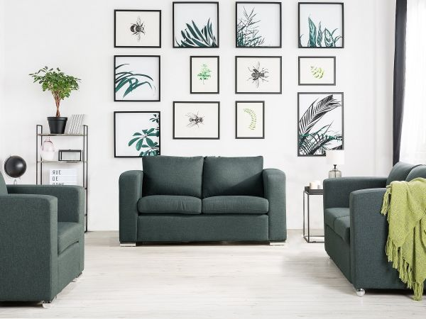 Helsin Fabric Living Room Set - Grey