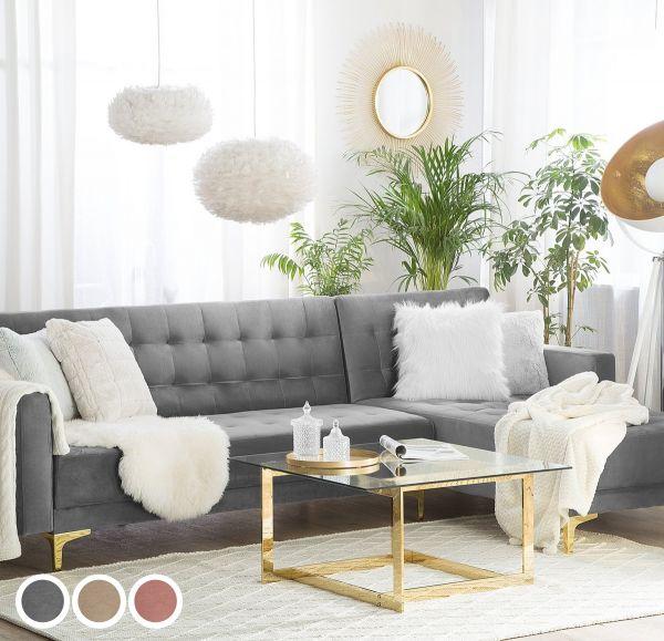 Abbie Velvet Corner Sofa - 3 Colours
