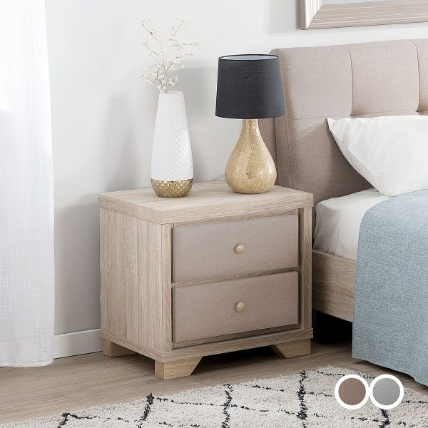 Berc Bedside Table Light Wood with 2 Drawer - 2 Colours