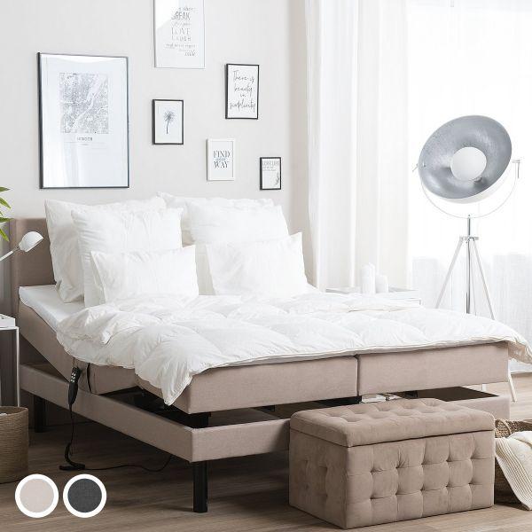 Lear Fabric Adjustable Bed - Beige & Grey