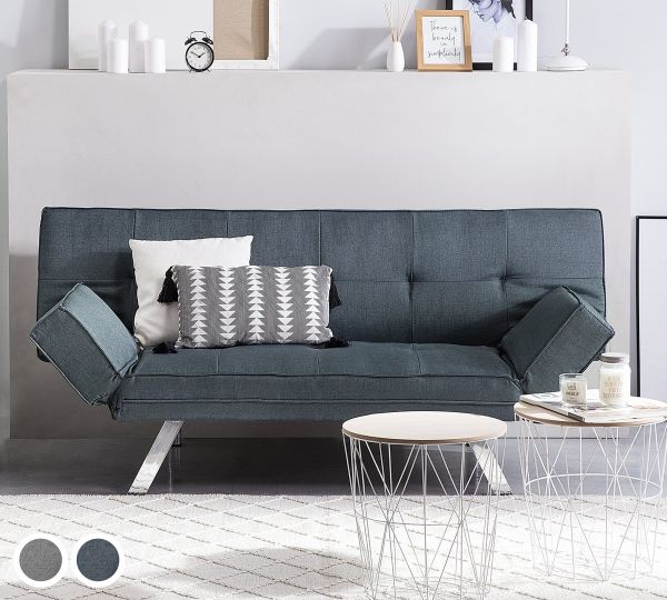 Brista Fabric Sofa Bed with 3 Seater - Grey or Dark Blue