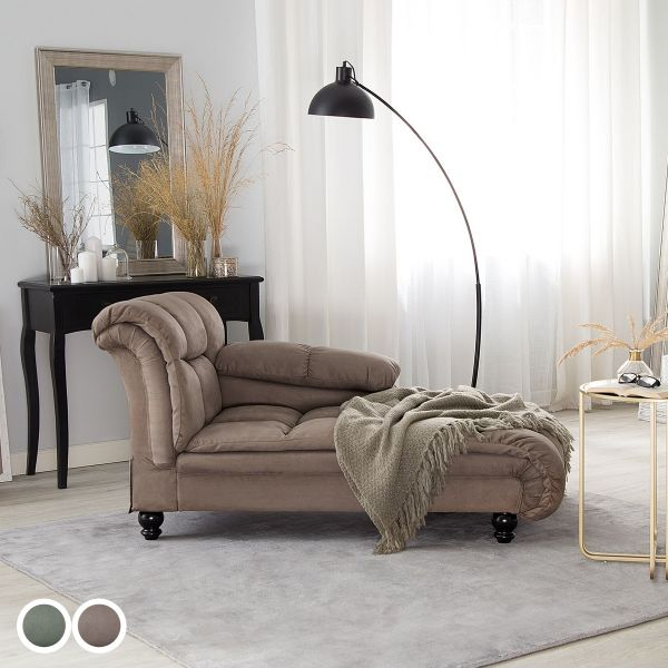 Lorm Fabric Chaise Longue - Green or Taupe