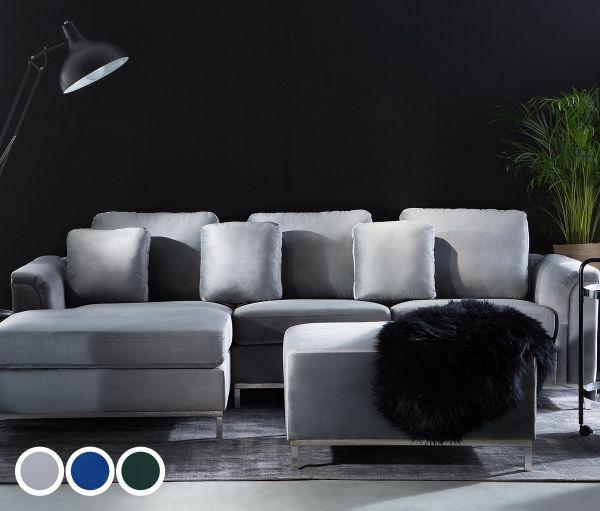 Islo Velvet Corner Sofa with Ottoman - Grey, Green or Blue