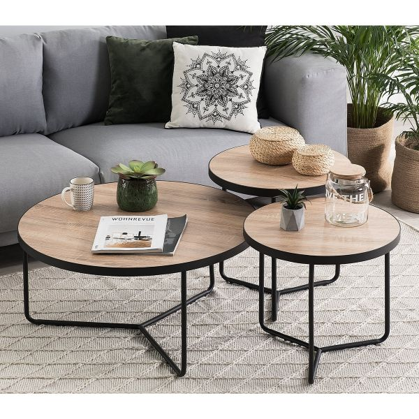 Melo Light Wood Coffee Table - Black