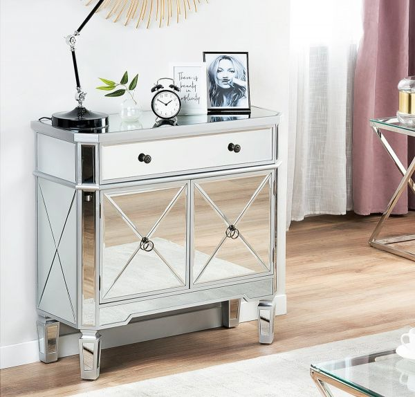 Lyo Sideboard with Drawer - Silver Mirrored