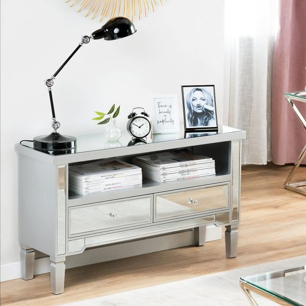 Nica Mirrored Sideboard with Drawers - Silver