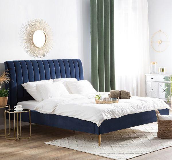 Marvill Fabric Velvet Bed - Blue