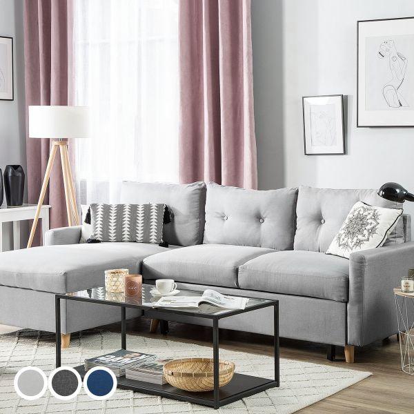 Flek Fabric Corner Sofa - Light Grey, Dark Grey or Blue