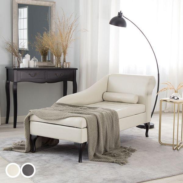 Pecass Fabric Chaise Longue with Storage - Dark Grey or White