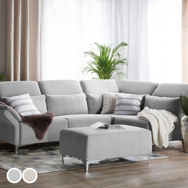 Filan Fabric Corner Sofa with Ottoman - Beige or Grey