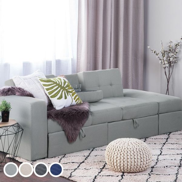 Falter Fabric Sectional Sofa Bed with Ottoman - 4 Colours