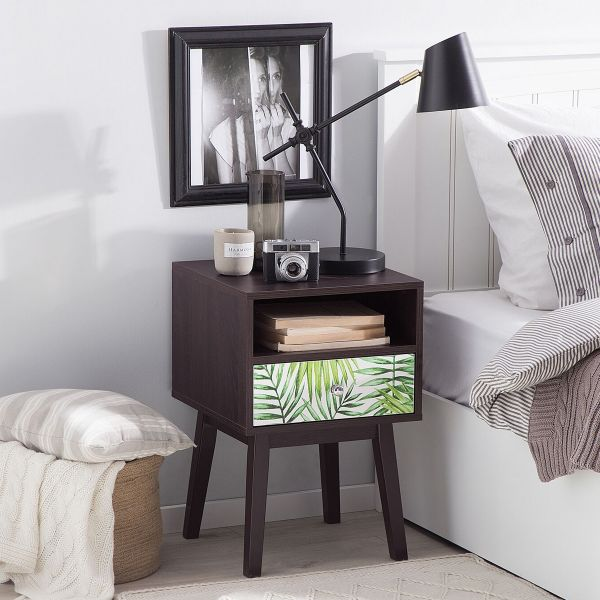 Rode Bedside Table with 1 Drawer - Dark Wood