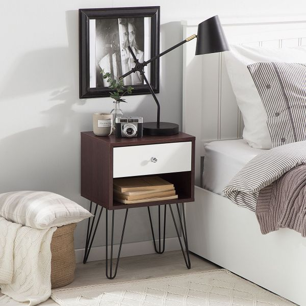 Arvi Bedside Table with 1 Drawer - Dark Wood with White