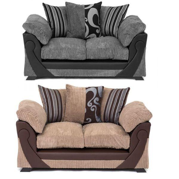 Illusion Cord Chenille & Faux Leather 2-Seat Sofa