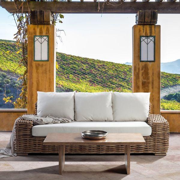 Farli Garden 3-Seat Rattan Sofa & Table Set