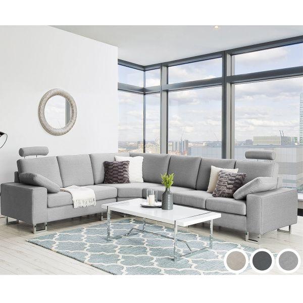 Stockland Fabric Corner Sofa - Beige, Dark Grey or Light Grey