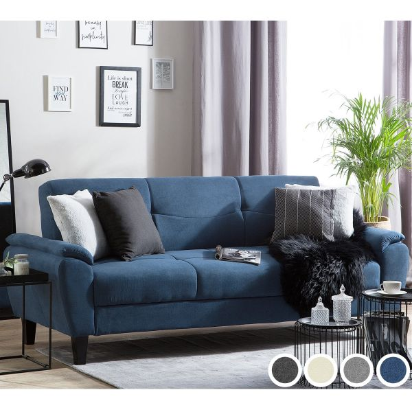 Hamstall Fabric Sofa Bed with 3 Seater - 4 Colours