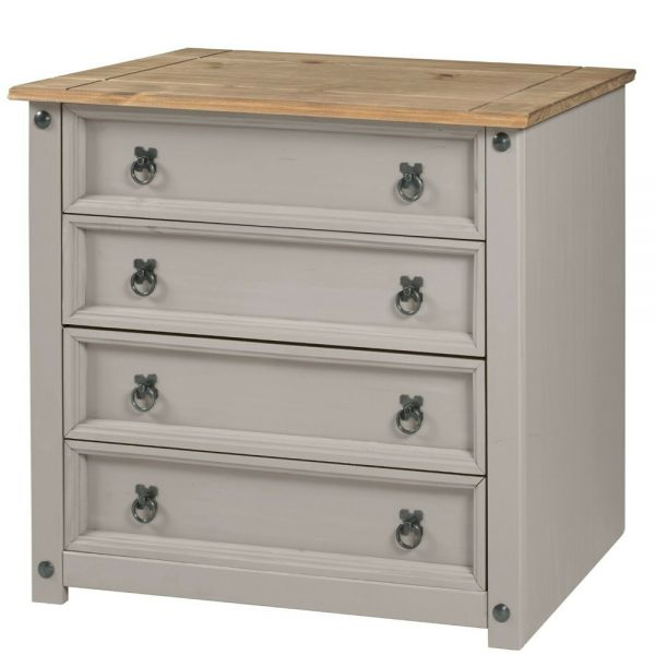 Corona Solid Pine Chest of Drawers 4 Drawer Small - Grey Wax