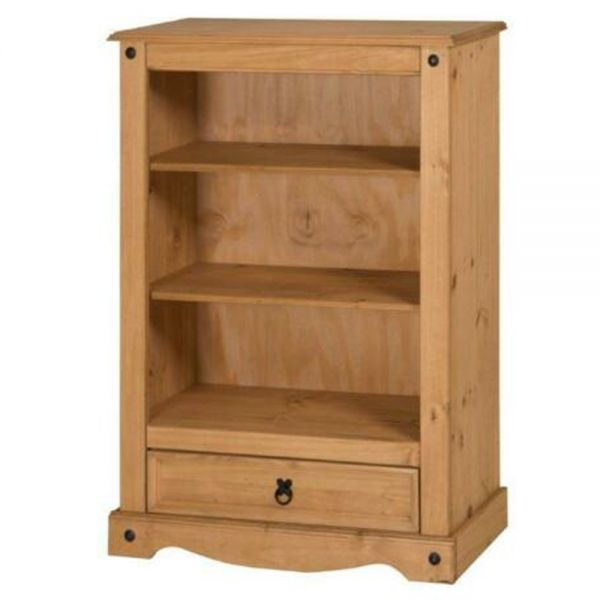 Corona Solid Pine Bookcase 1 Drawer - Mexican Style